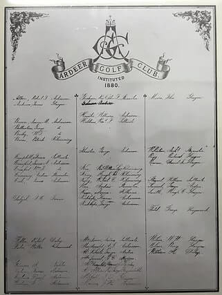 Founding document of Ardeer Golf Club
