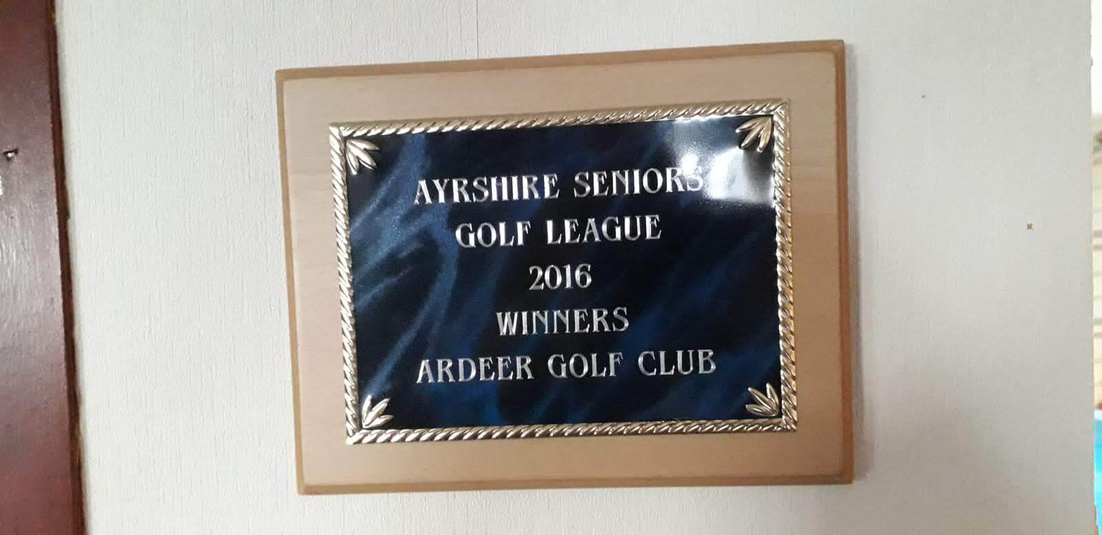 Ayrshire Seniors Golf League Winners Plaque 2016